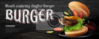 Fototapeta Delicious hamburger banner ads