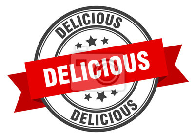 Fototapeta delicious label. delicious red band sign. delicious