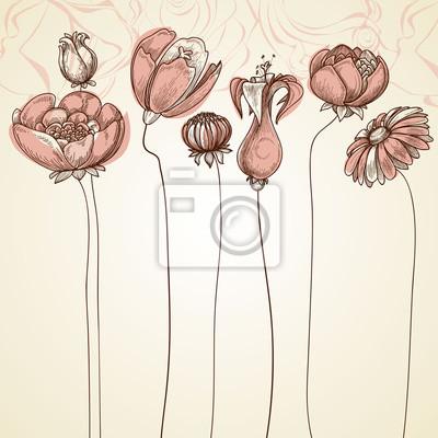 007934c9322c29 Fototapeta Delikatne kwiaty w tle. Stylowe kwiatowy karty, ręcznie rysowane  chory