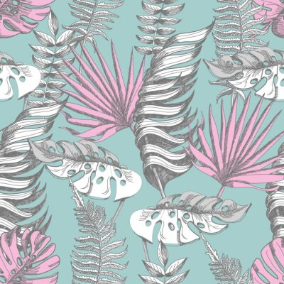 Fototapeta Delikatny różowy i niebieski wzór z graficznych tropikalnych kwiatów.