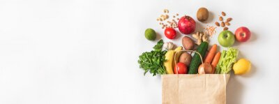 Fototapeta Delivery or grocery shopping healthy food