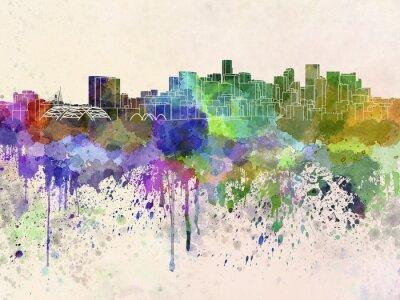Fototapeta Denver panoramę w akwarela