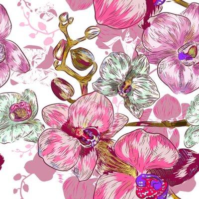 Fototapeta Deseń bez szwu różowa orchidea