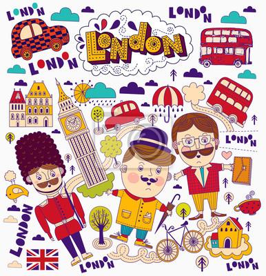 Fototapeta Deseń z symboli Londynu