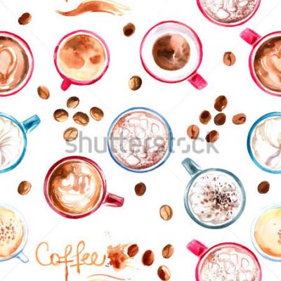 Fototapeta Deseniowa filiżanka malująca z akwarelami na białym tle. Napój i słodycze. Abstract plamy akwarela, ślady kawy.