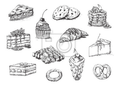 Fototapeta Desserts set. Vector illustration. Cakes, biscuits, baking, cookies, pastries, eclair, muffin, cheese cake, waffles, donuts, croissant, meringue hand drawing on white background. Food vintage style.