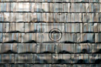 Fototapeta Detail of titanium panels wall