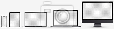 Fototapeta Device screen mockup. Smartphone, tablet, laptop and monoblock monitor, with blank screen for you design. Vector EPS10