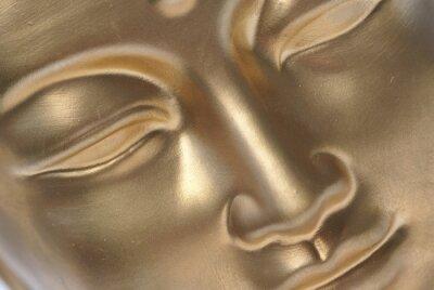 Fototapeta Diagonal bliska złoty Budda twarzy.