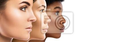 Fototapeta Different ethnicity women - Caucasian, African, Asian.