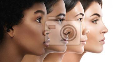 Fototapeta Different ethnicity women - Caucasian, African, Asian and Indian.