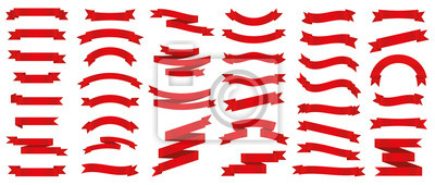 Fototapeta Different red ribbons banners collection. Vector illustration