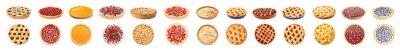 Fototapeta Different tasty pies on white background