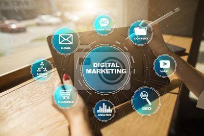 Fototapeta Digital marketing technology concept. Internet. Online. Search Engine Optimisation. SEO. SMM. Video Advertising.