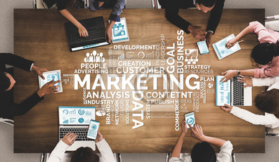 Fototapeta Digital Marketing Technology Solution for Online Business Concept - Graphic interface showing analytic diagram of online market promotion strategy on digital advertising platform via social media.