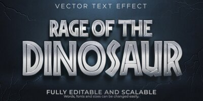 Fototapeta Dinosaur editable text effect, monster and scary text style