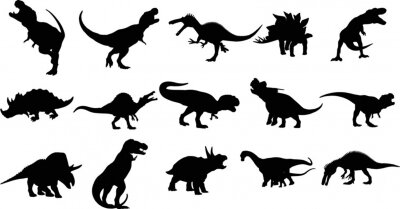 Fototapeta Dinosaurs and Jurassic Dino monsters Vector silhouette of triceratops or T-rex, brontosaurus or pterodactyl and stegosaurus, pteranodon or ceratosaurus and parasaurolophus reptile Set 04