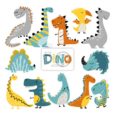 Fototapeta Dinosaurs vector set in cartoon scandinavian style. Colorful cute baby illustration is ideal for a children s room.