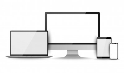 Fototapeta Display screen. Realistic set of monitor, tablet, laptop, smartphone blank isolated devices. Object with shadow vector illustrator.