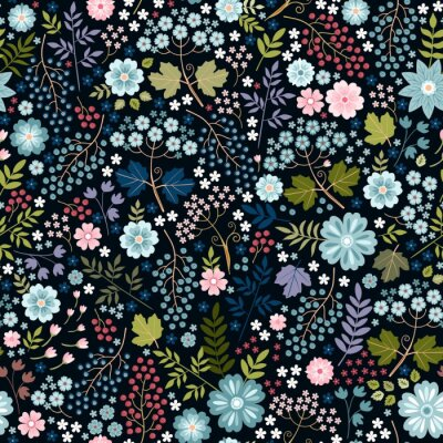Fototapeta Ditsy floral seamless pattern with flowers, berries and leaves on black background. Print for fabric, textile, wrapping paper