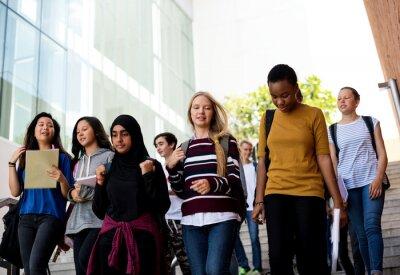 Fototapeta Diverse group of students walking in school