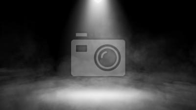 Fototapeta Divine light through a dark fog. The rays beam light on the floor. Spotlight on isolated background. Stock illustration.