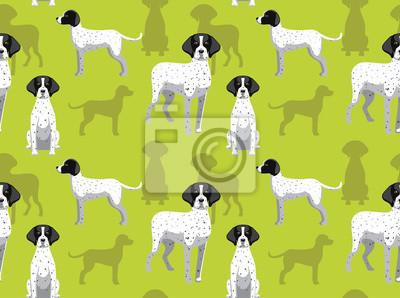 Fototapeta Dog Braque Cartoon Background Seamless Wallpaper