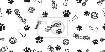 Fototapeta Dog paw seamless pattern bone vector footprint pet toy french bulldog cartoon scarf isolated repeat wallpaper illustration tile background
