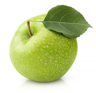 Fototapeta Dojrzałe zielone jabłko z liścia samodzielnie na białym tle z wycinek ścieżki