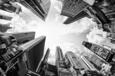 Fototapeta Dół się widok na drapacze chmur z poziomu ulicy
