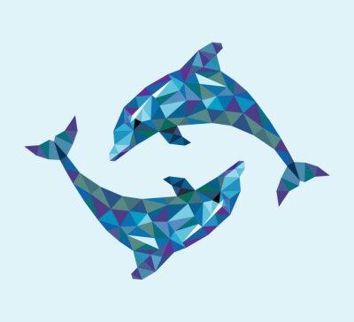 Fototapeta Dolphin styl trójkąt niskie wielokąt