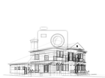 dom na białym tle