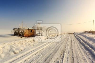 Domek na obszarach wiejskich pokryte śniegiem