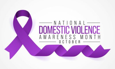 Fototapeta Domestic Violence awareness month (DVAM) is observed every year in October, to acknowledge domestic violence survivors and be a voice for its victims. Vector illustration