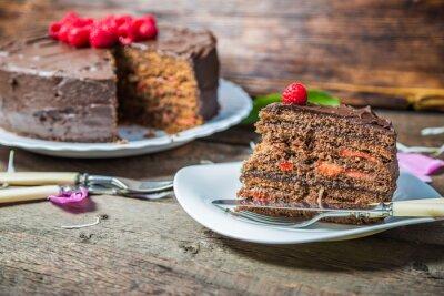 Fototapeta Domowe ciasto ze świeżymi malinami