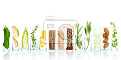 Fototapeta Domowe pielęgnacji skóry i ciała peelingi z naturalnych składników aloesu