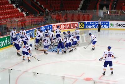 Fototapeta Donieck, Ukraina - 20 kwietnia Przyjaźń Arena 20 kwietnia 2013 Mistrzostwa Świata na lodzie między drużynami meczu z Holandii i Rumunii