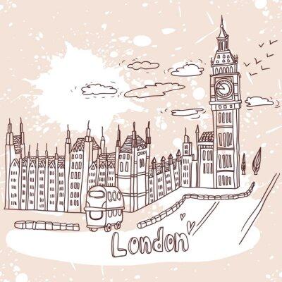 Fototapeta doodle rysunek krajobraz