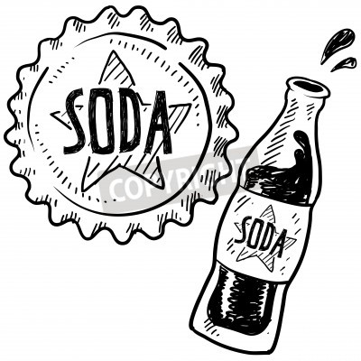 Fototapeta Doodle style soda bottle with cap illustration in vector format
