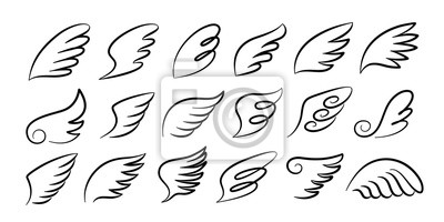 Fototapeta Doodle wings. Cartoon bird feather wings, religious angel wings ink sketch, black tattoo silhouette. Vector hand drawn blade wing sketch set for heraldic symbol emblem on white background