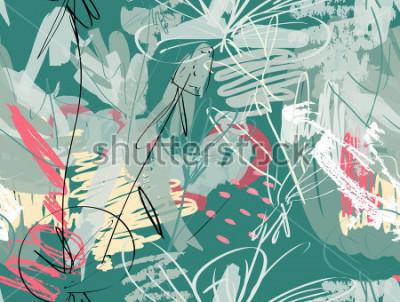 Fototapeta Doodles z grunge tekstury szorstkim rysującym dandelion kwiatem i ogródem. Abstrakcjonistyczny bezszwowy wzór. Uniwersalne jasne tło dla kart okolicznościowych, zaproszeń. Miał rysowane tekstury akwar