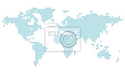Fototapeta Dotted world map,map template for web site pattern,  infographics. Globe similar world map icon. Travel worldwide, map silhouette backdrop.