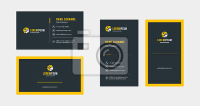 Fototapeta Double-sided creative business card template. Portrait and landscape orientation. Horizontal and vertical layout. Vector illustration
