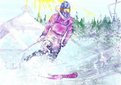 Fototapeta down narciarz wzgórzu (jest to oryginalny rysunek)