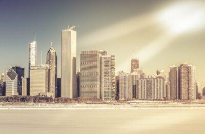 Fototapeta Downtown Chicago zima widok z zamarzniętym jeziorze