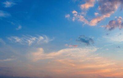 Dramatic sunrise blue sky background.