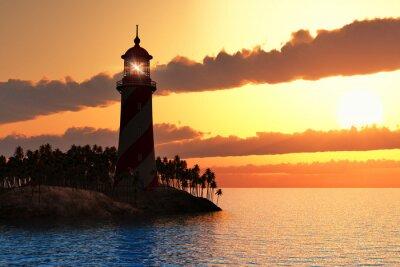 Fototapeta Dramatyczna zachód słońca z latarni morskiej na wyspie w morzu