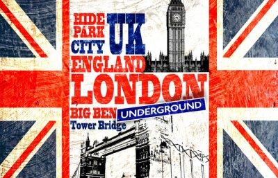 Fototapeta Drapeau anglais coupé avec Big Ben i Tower Bridge