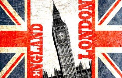 Fototapeta drapeau anglais coupé avec écrit Londyn Anglia i Big Ben