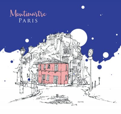 Fototapeta Drawing sketch illustration of Montmartre, Paris